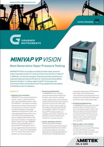 MINIVAP VP Vision - Next Generation Vapor Pressure Testing