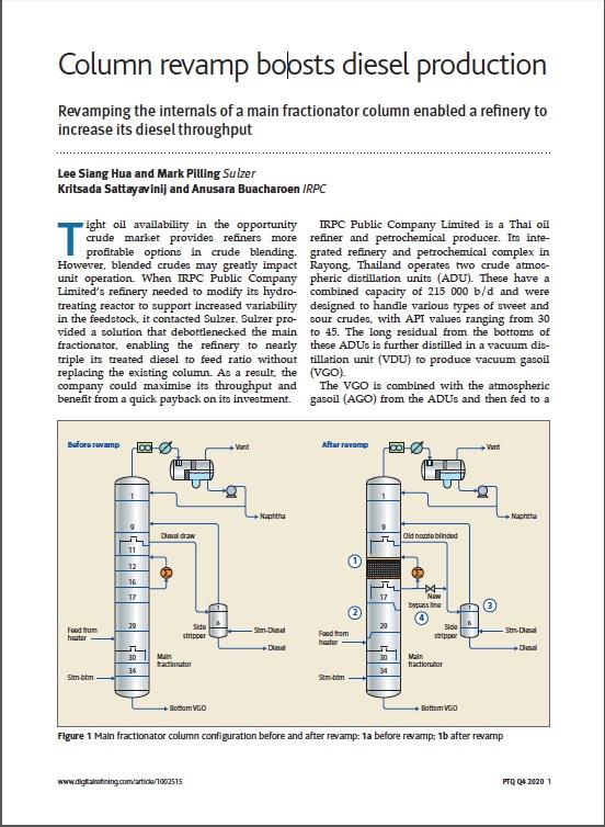 Column revamp boosts diesel production