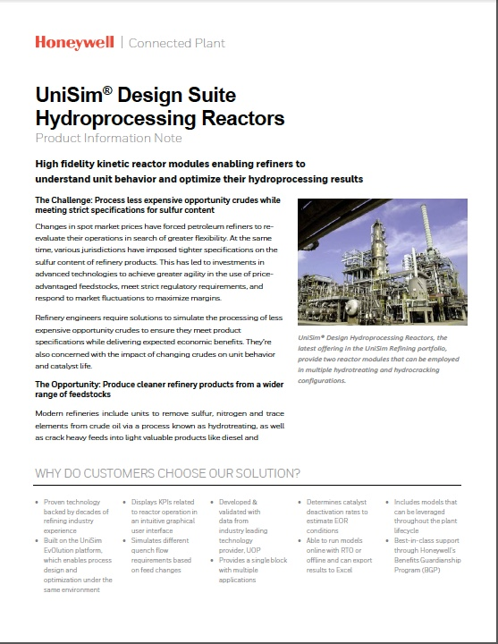 UniSim® design suite hydroprocessing reactors