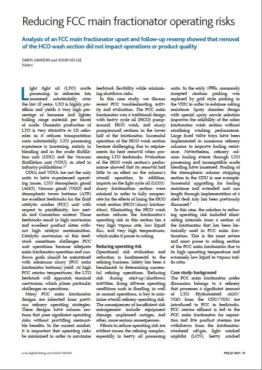 Reducing FCC main fractionator operating risks