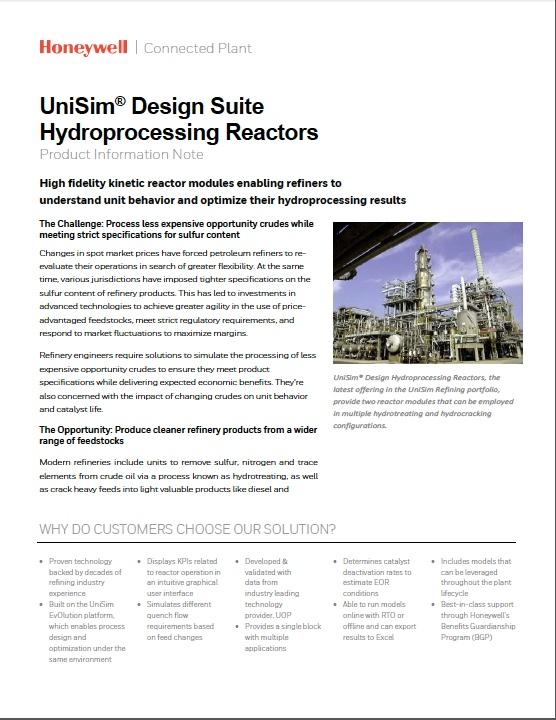UniSim® design suite hydroprocessing reactors